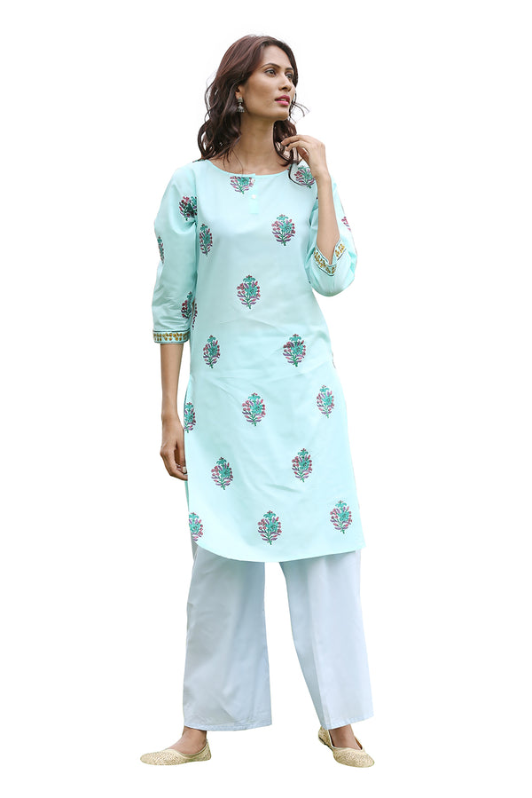 Green Kurti - Orchid Side Slit