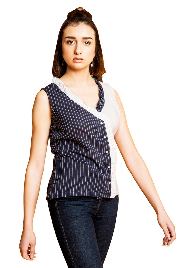 Blue Top - White Midnight Stripes Cut Sleeves