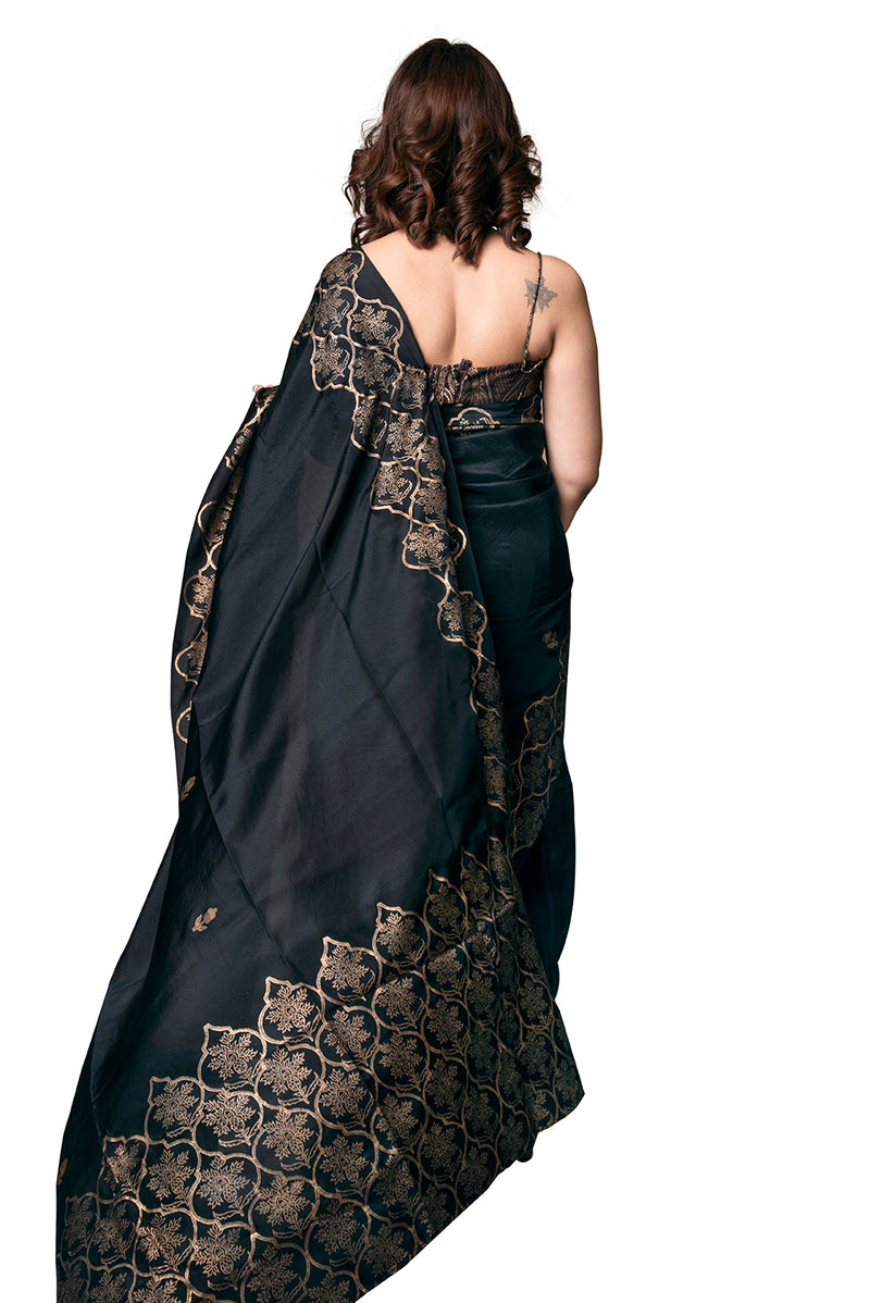 Black Saree - Jharokha Gold Block Print