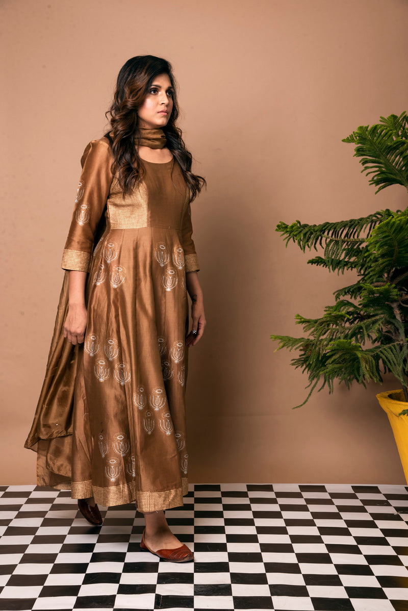 Brown Anarkali Suit - Sunflower Quad