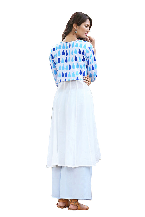 White Kurti - Drizzle and Block Layered
