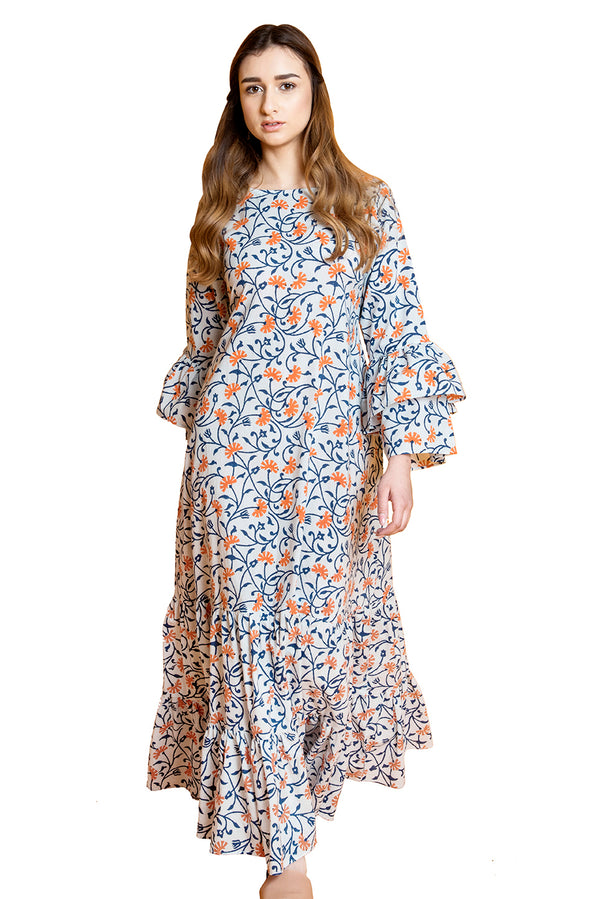 Blue Maxi Dress - Ecstatic Floral