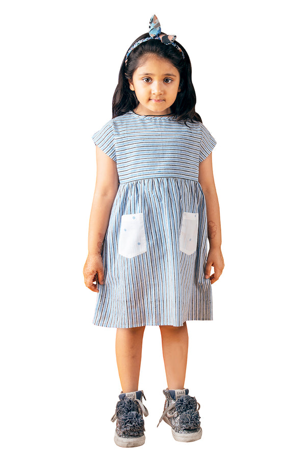 Blue White Frock - Polka Gathered