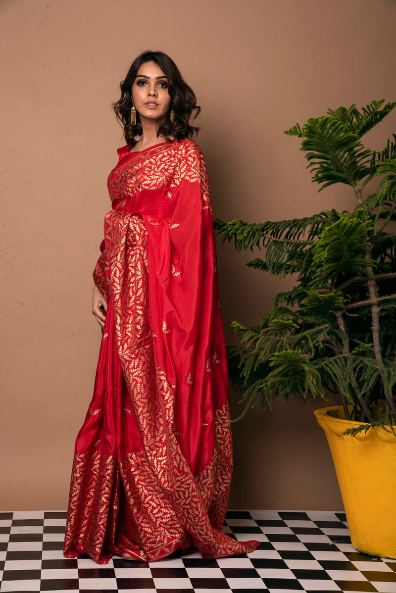 Red Saree - Gold Fern Block Print