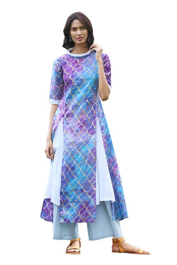 Multicolored Kurti - Persian Rangoli Handkerchief