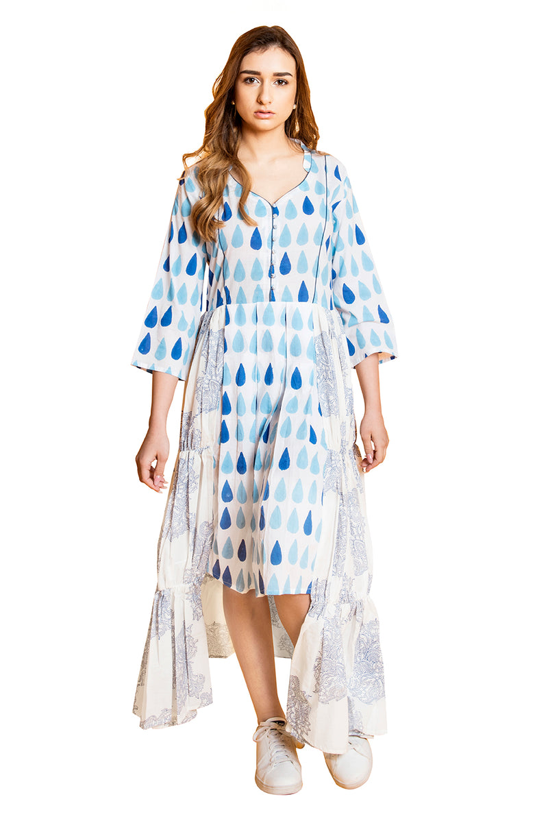 White Kurti - Drizzle with Check and Mate High-Low