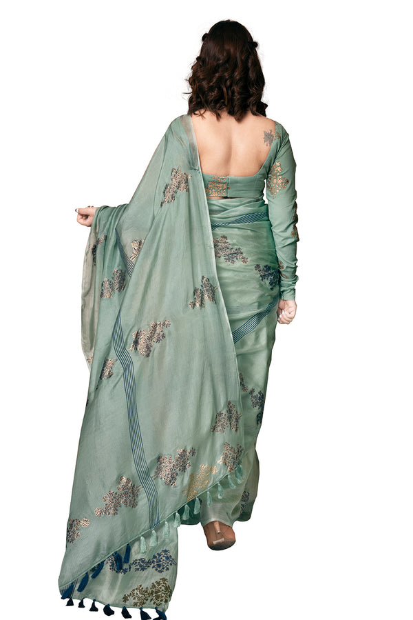 Green Saree - Radiating Blue Striped Block Print
