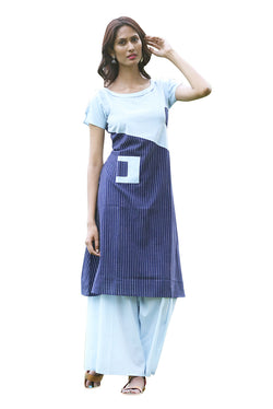 Blue Kurti - Striped and Block Indo-Western