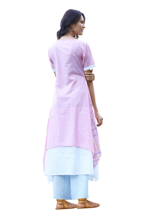 Pink Kurti - White Embroidered Check Layered