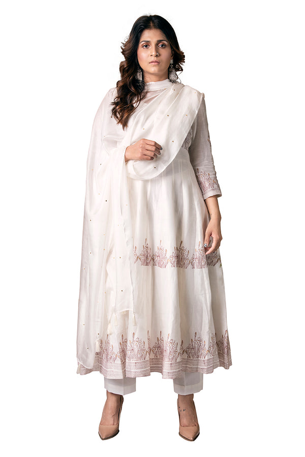 White Anarkali Suit - Floral Farm