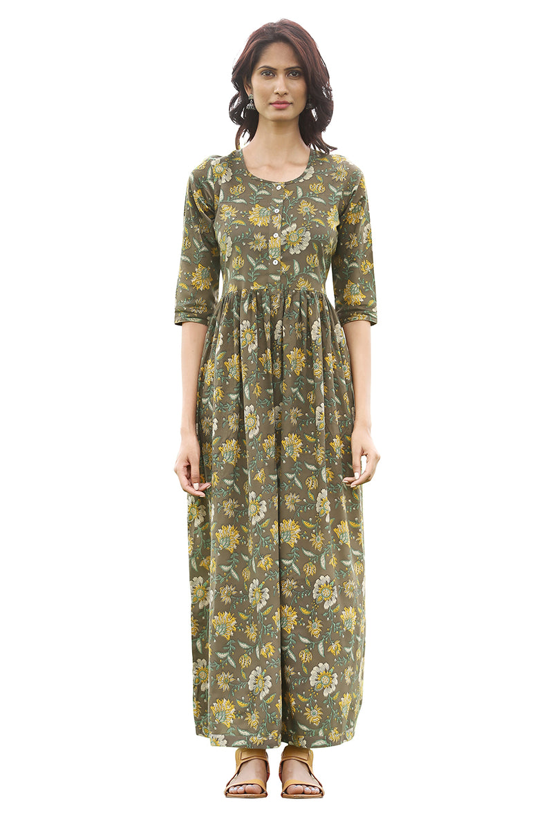 Green Maxi Dress - Olive Green Floral
