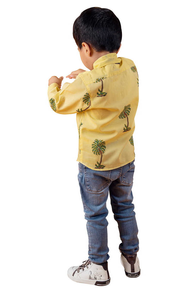 Yellow Shirt - Coconut Printed Straight