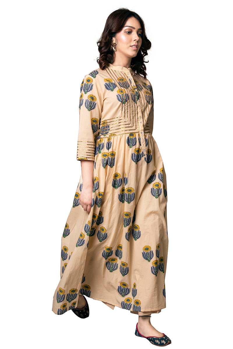 Beige Anarkali Suit - Sunflower Quad