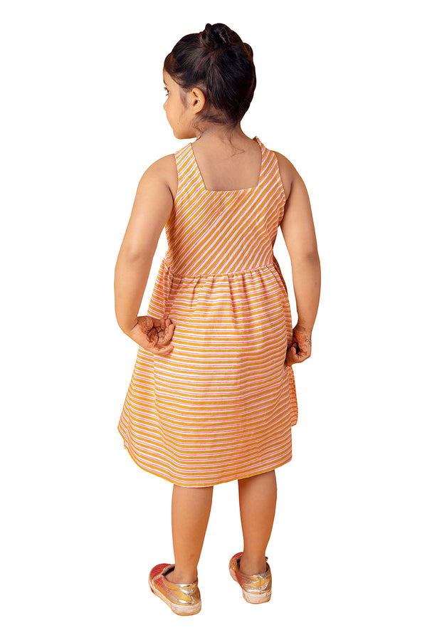 Pink Frock - Orange Striped Gathered