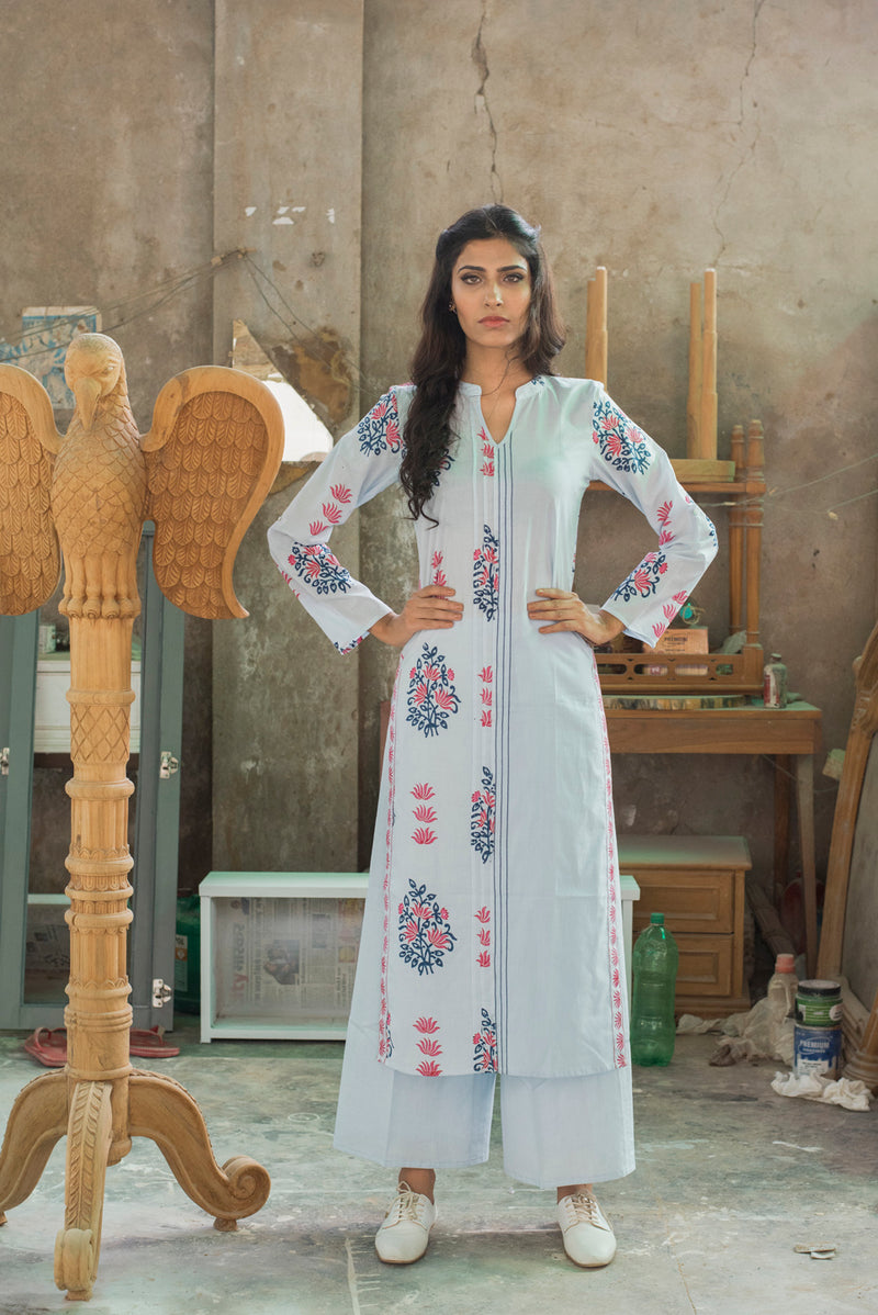 Blue Kurti - Binary Bunch Side Slit