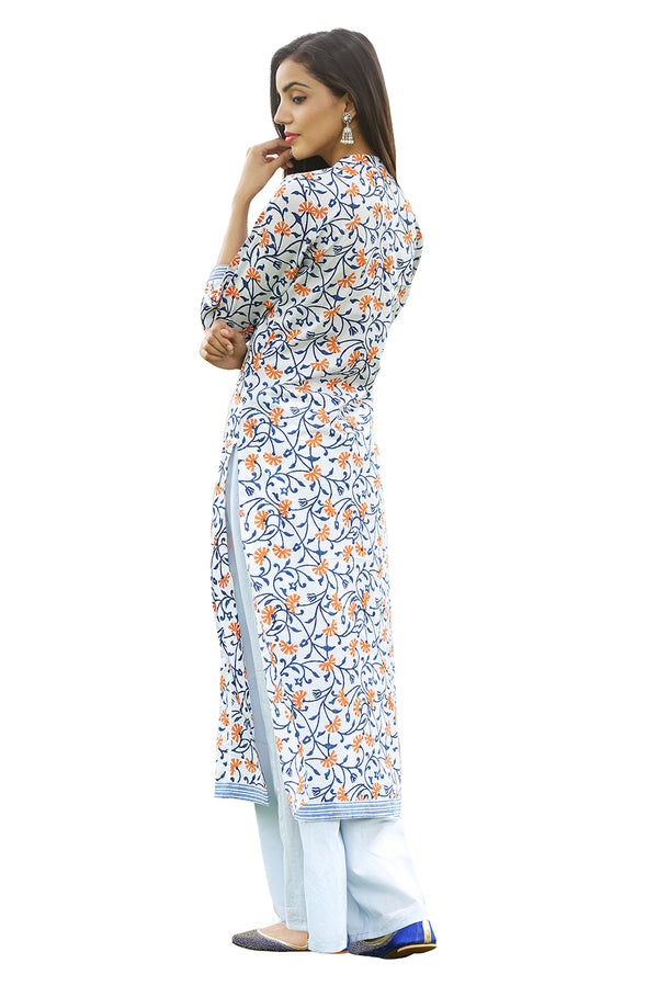 Multicolored Kurti - Ecstatic Floral Side Slit