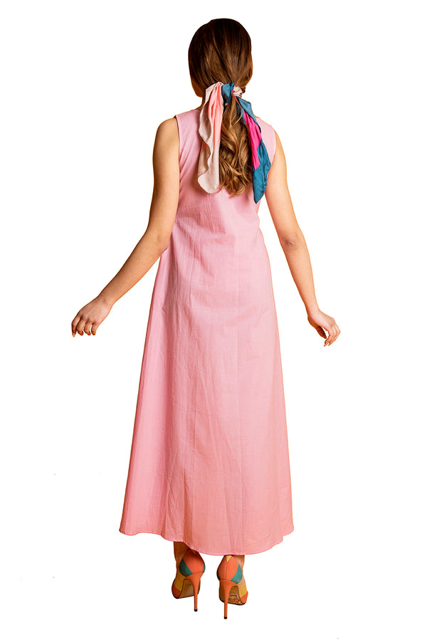 Pink Maxi Dress - Bean Embroidered