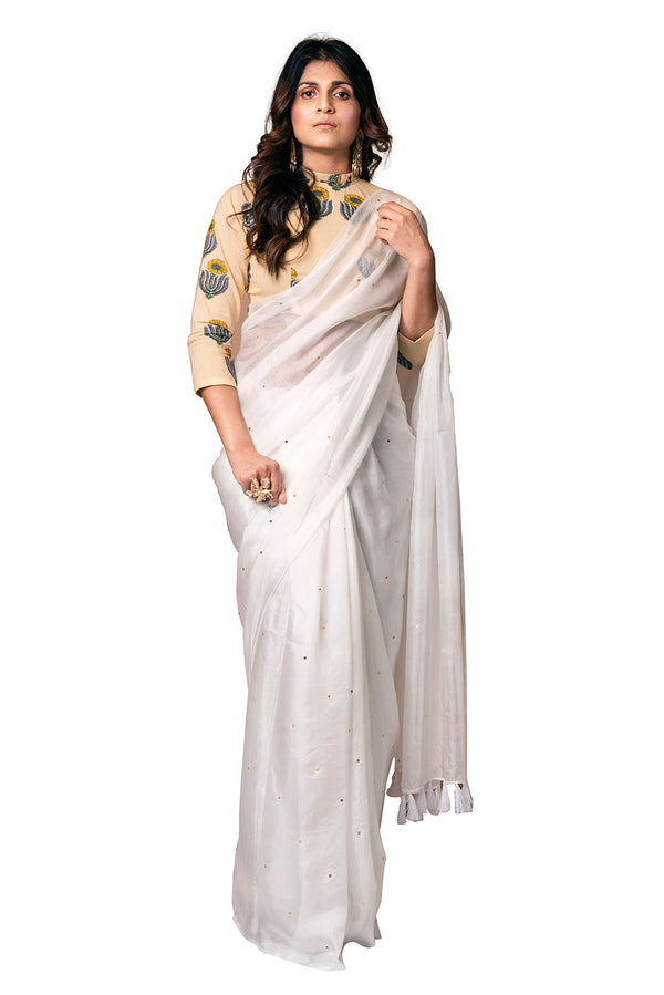 White Saree - Star and Tassel