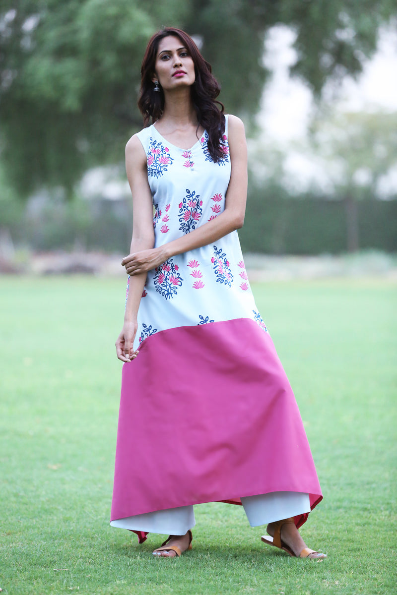 Magenta Handkerchief Kurti - Binary Bunch and Block Print