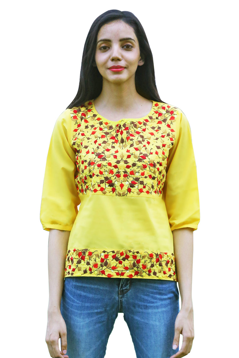 Yellow Top - Maple Three Quarter Sleeves