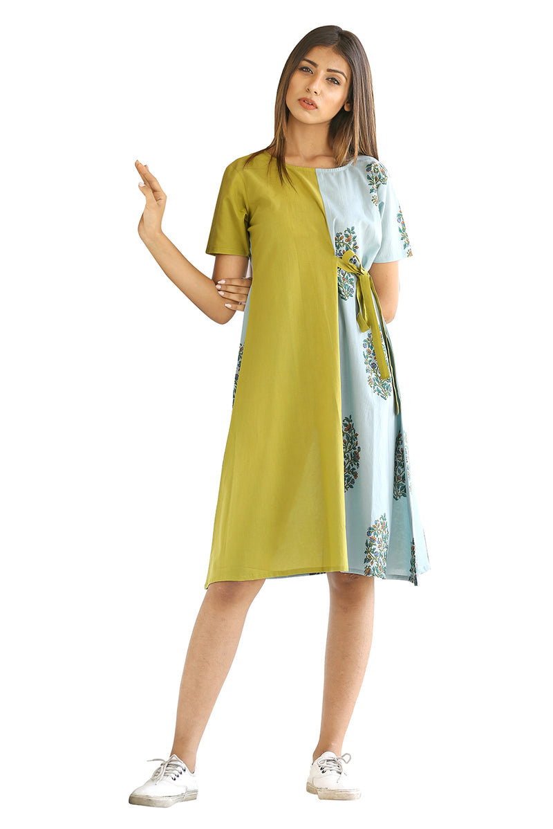 Green Dress - Floral Bunch and Block Tunic