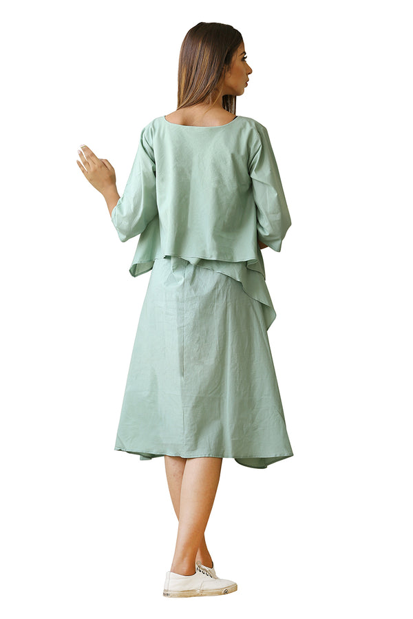 Green Tent Dress - Sage Green Layered