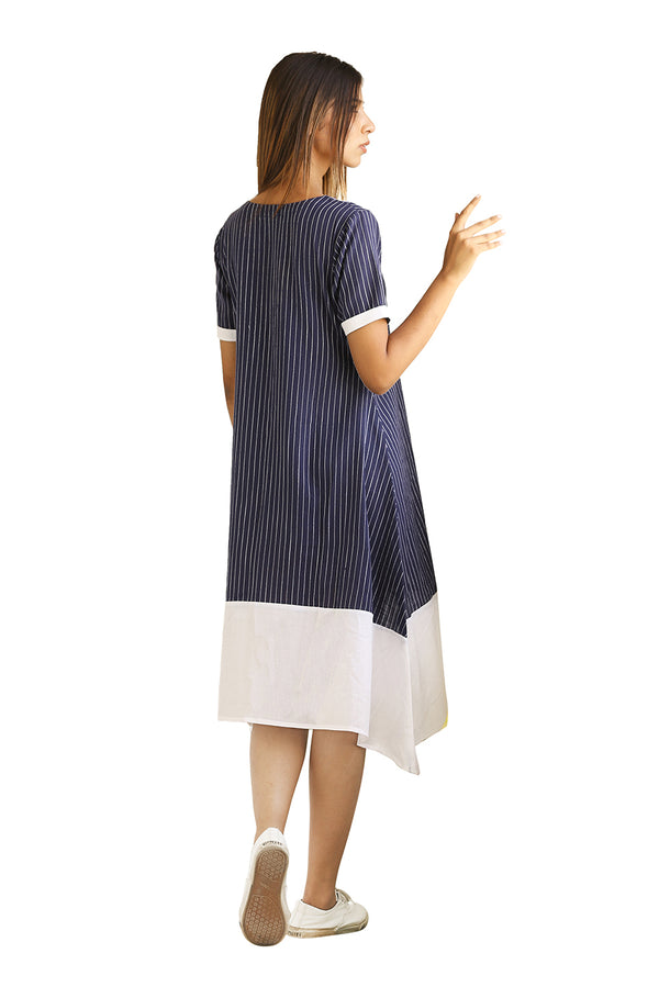 Blue Dress - Midnight Stripes A-Line