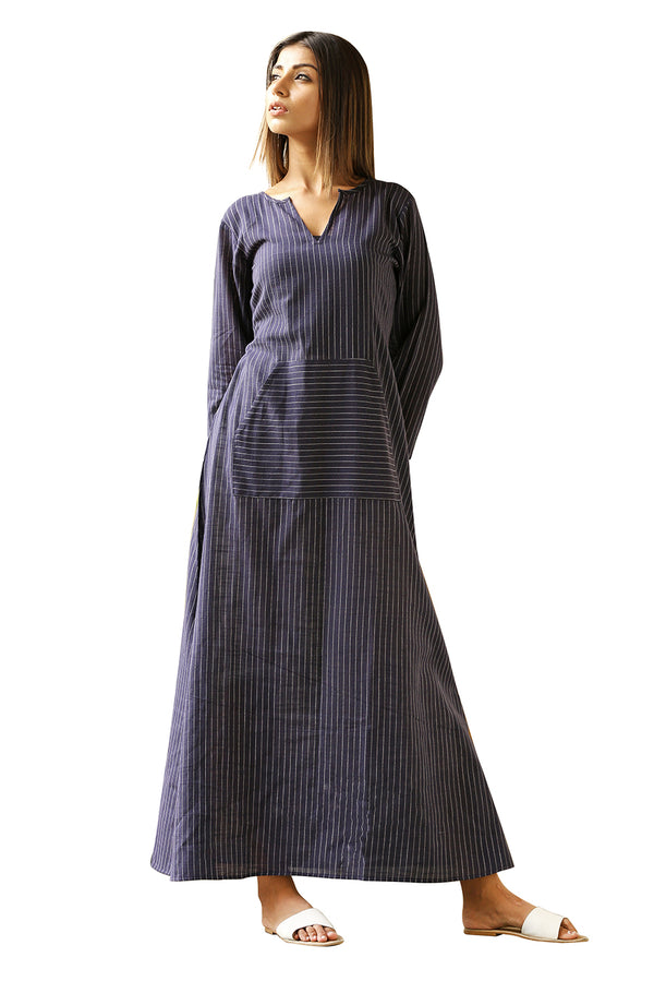 Blue Maxi Dress - Midnight Stripes
