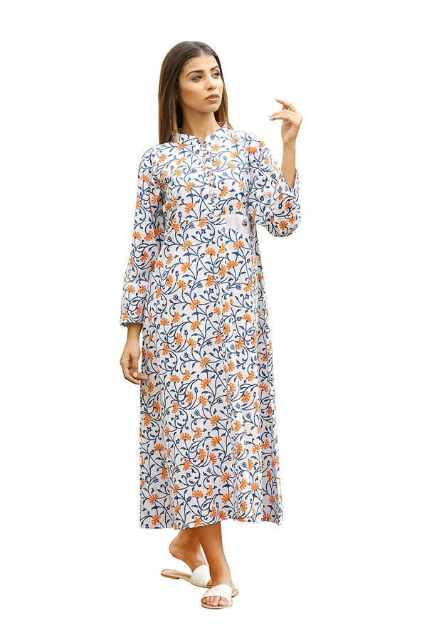 Blue Kurti - Ecstatic Floral Long Straight Cut