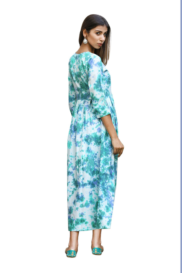 Blue Maxi Dress - Peacock Tie Dye