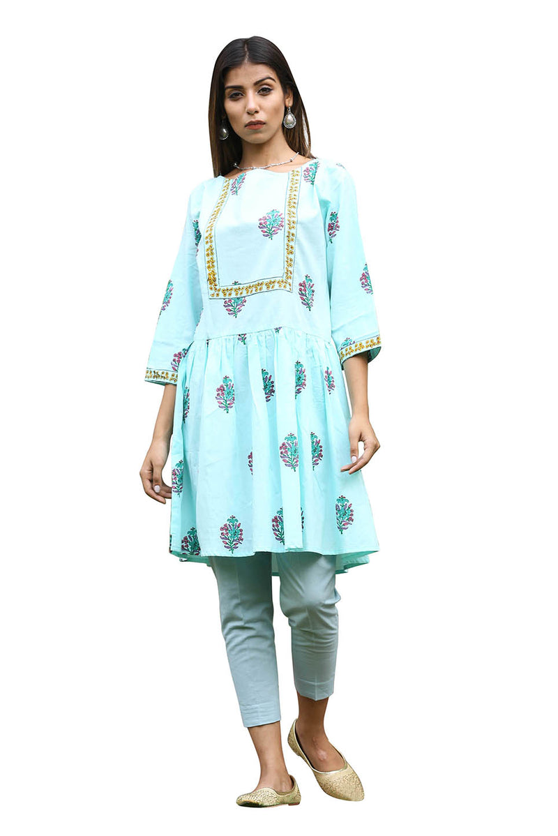 Green Kurti - Blue Orchid Flared Short