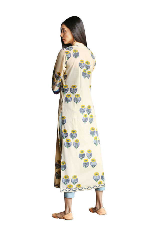 Yellow Kurti - Sunflower Quad Side Slit