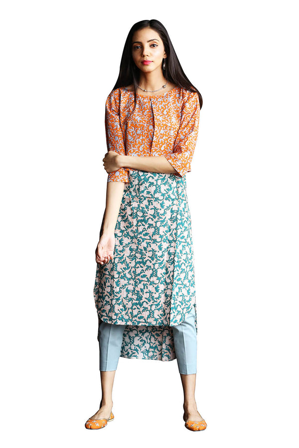 Green Kurti - Orange Jacket Tsunami Style