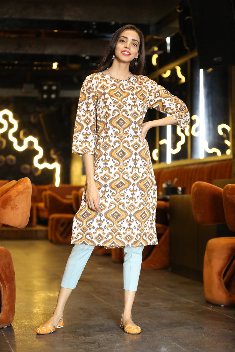 Brown Kurti - Kaleidoscope Side Slit