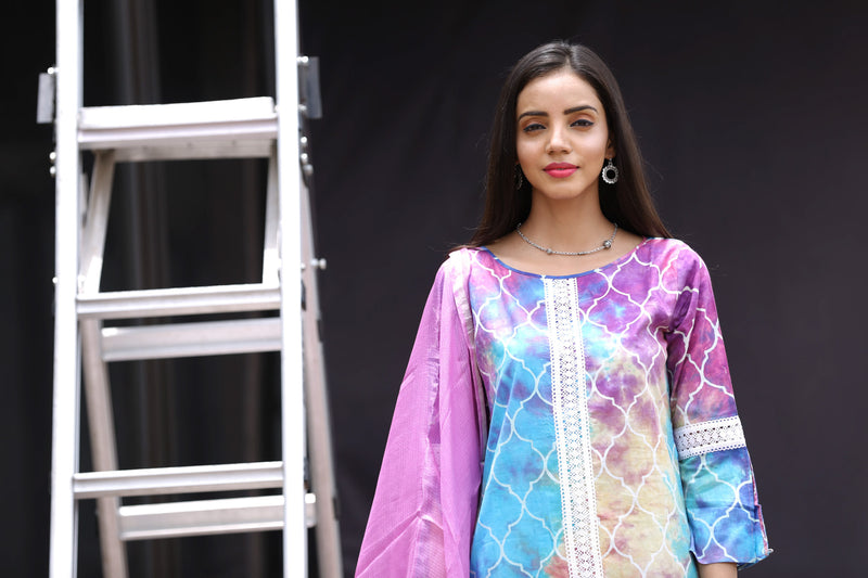 Multicolored Kurti - Persian Rangoli Side Slit