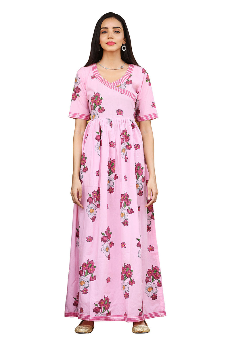 Pink Angrakha Kurti - Rose Bunch