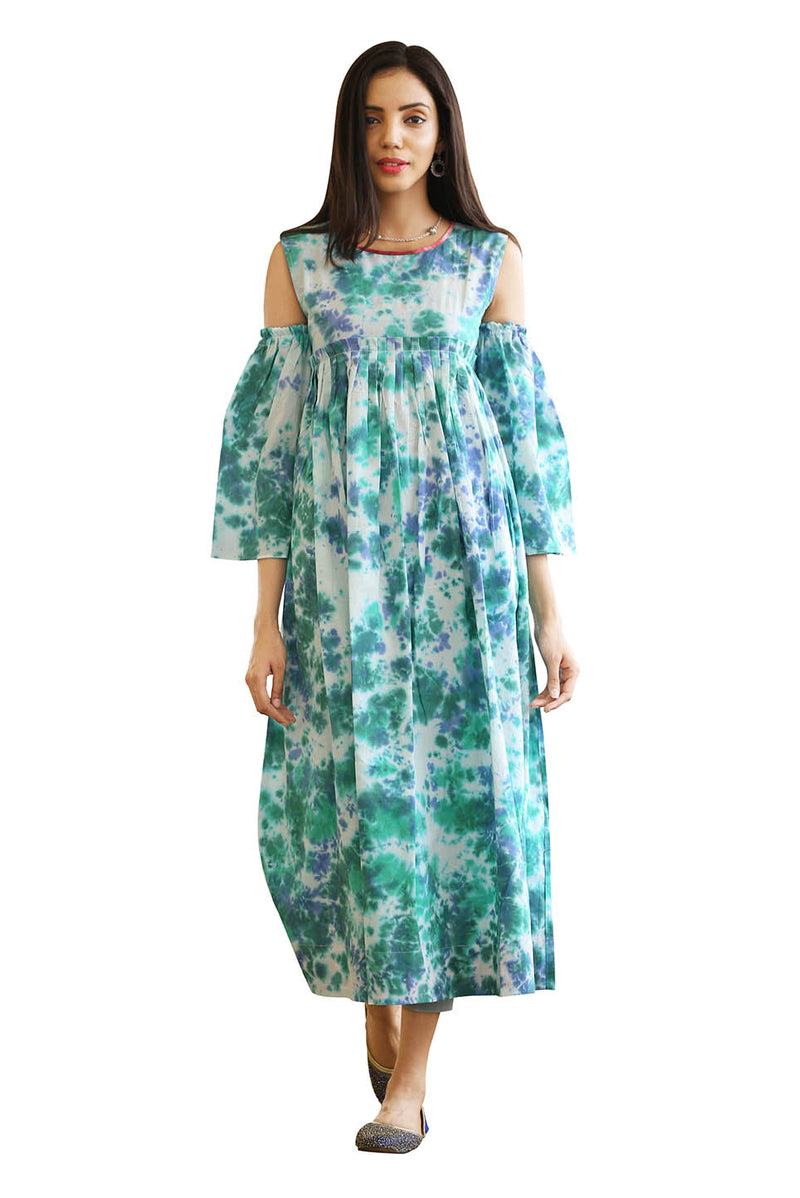 Blue Dress - Peacock Tie Dye High Waist