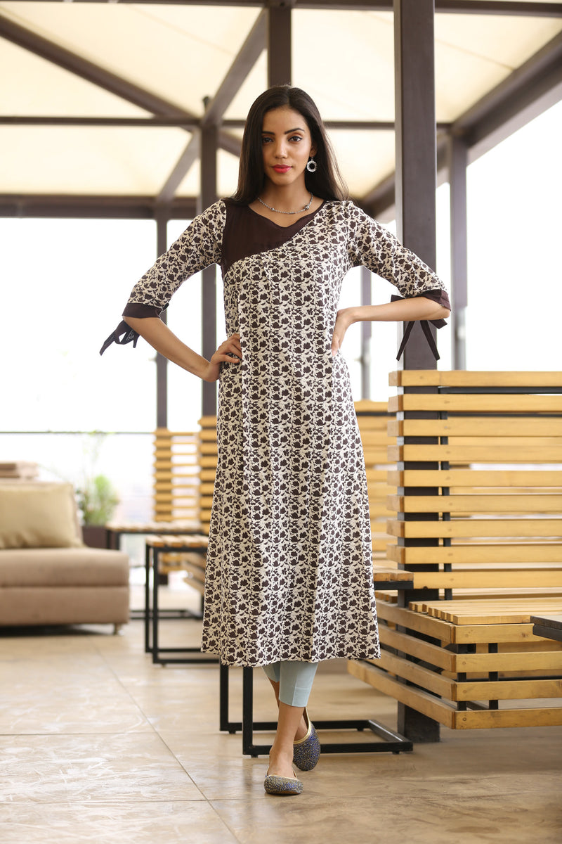 Brown Kurti - Bug Bed Long Straight Cut