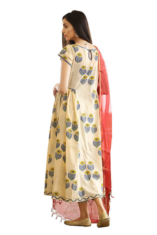 Yellow Anarkali Kurti - Sunflower Quad