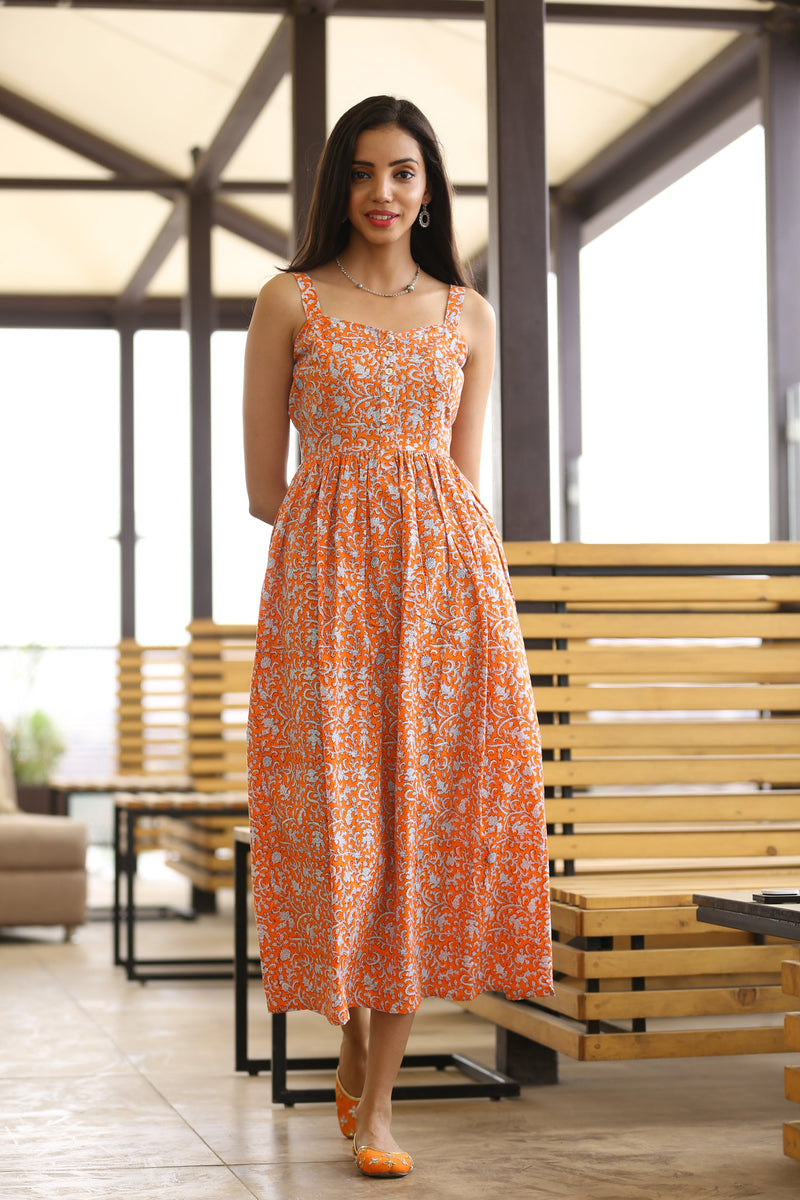 Orange Maxi Dress - Tsunami