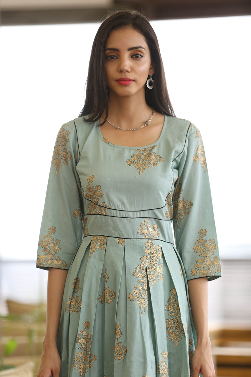 Green Kurti - Gold Floral Indo-Western