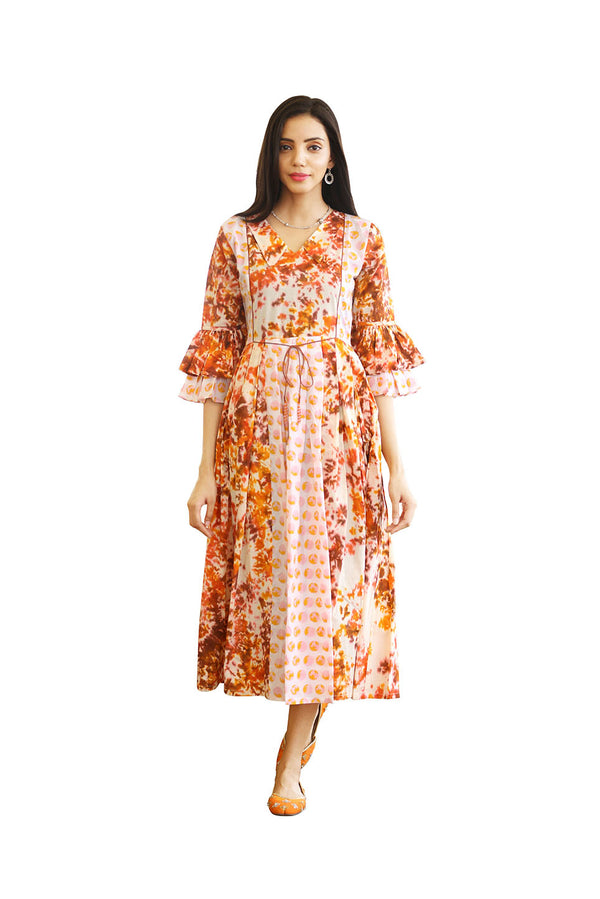 Multicolored Anarkali Kurti - Rust Tie Dye