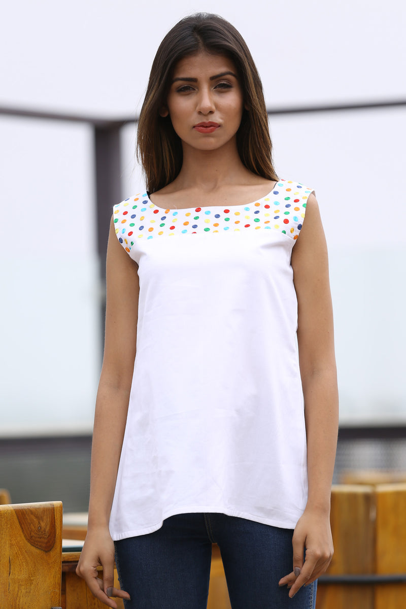 White Top - Multi Polka Cut Sleeves