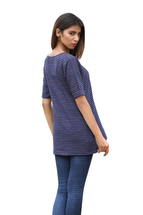 Blue Top - Midnight Stripes Half Sleeves