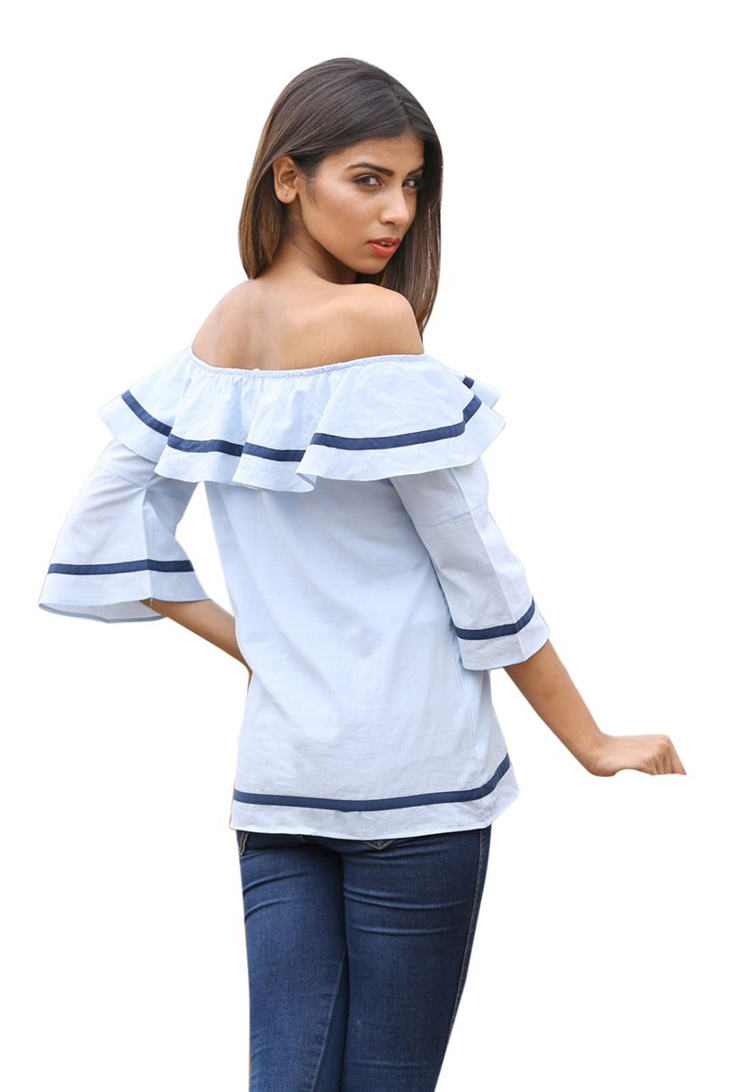 Blue Top - Uniform Off Shoulder