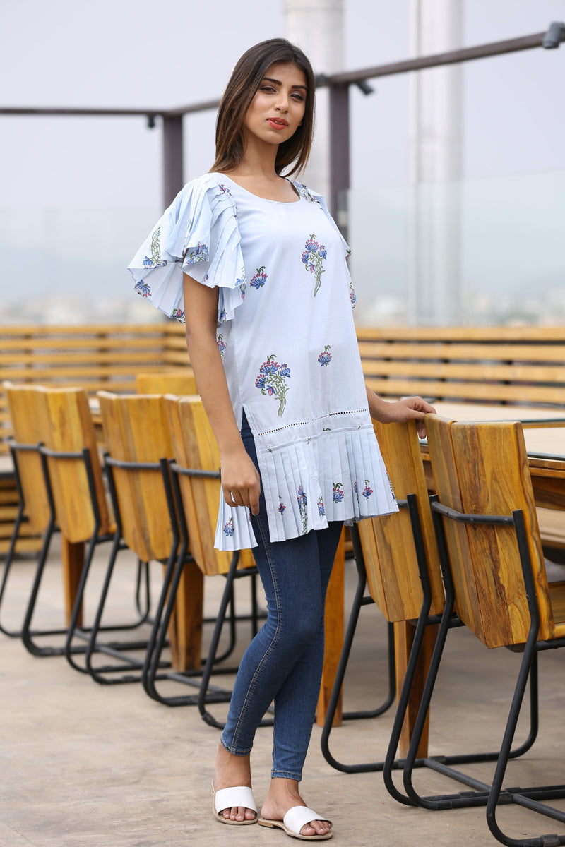 Blue Kurti - Lily Bouquet Indo-Western