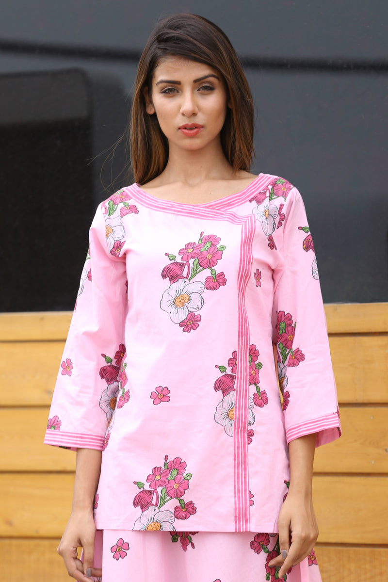 Pink Top Kurti - Rose Bunch