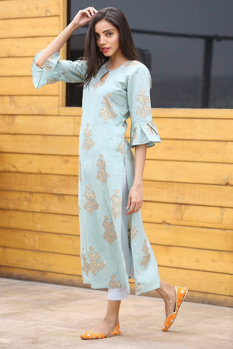 Green Kurti - Gold Floral Side Slit