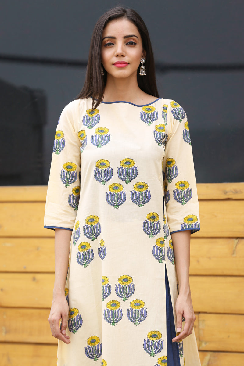 Yellow Kurti - Sunflower Quad Overlay Style
