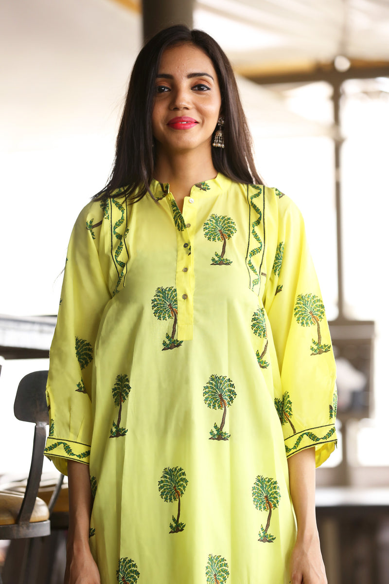 Yellow Kurti - Coconut Tree Straight Cut